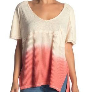 Free People Sun Dial Tee SZ M Coral Wide